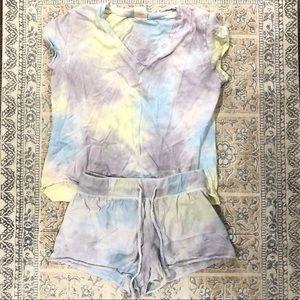 Chic Tie Dye Short Sleeve Lounge Two-Piece Set